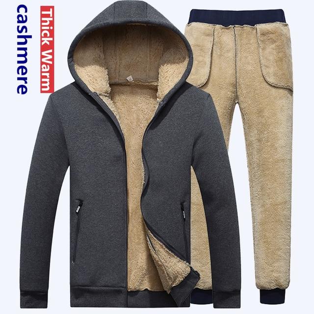 Ensemble de survêtement épais chaud pour homme, survêtement masculin, sweater à capuche cachemire, XS 4XL