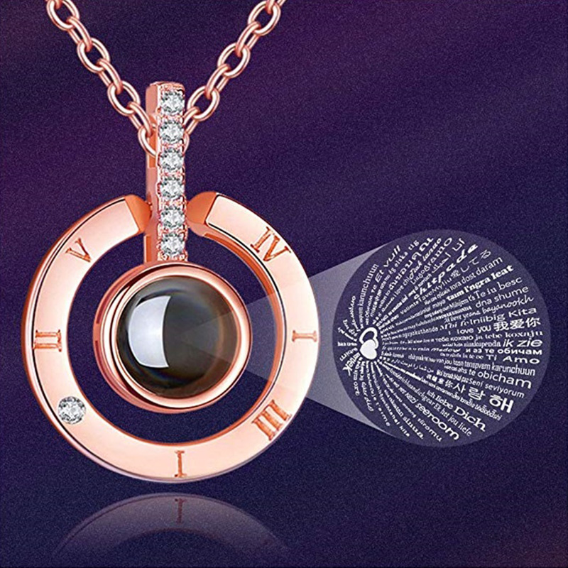 I Love You 100 Languages Necklace Round Pendant Projective The Memory of for U Women Girl