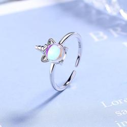Nova alta qualidade requintado cor moonstone unicorn abertura anéis para mulher 925 prata esterlina jóias acessórios presentes de festa
