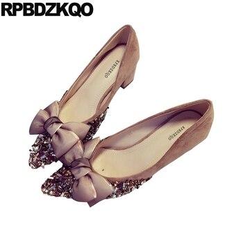 Women Medium Heels Suede Bow Pointed Toe Modern Black Block Rhinestone Bridal Crystal Pumps Pink Wedding Shoes Diamond Chunky