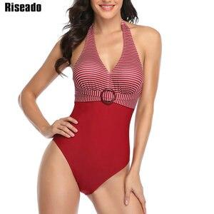 Image 4 - Riseadoヴィンテージワンピース水着ストライププリント水着の女性2020水着ホルター水着女性ベルト付きビーチ