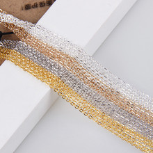 5/10m/lot Width 1.3mm Metal Copper Clad Iron Chain Bulk Gold Silver Color Necklace Chain Bracelet Findings For Jewelry Making