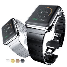 цена на Luxury stainless steel strap for Apple Watch band 38mm 40mm 42mm 44mm iWatch series 5 4 3 2 1 strap butterfly buckle Steel belt