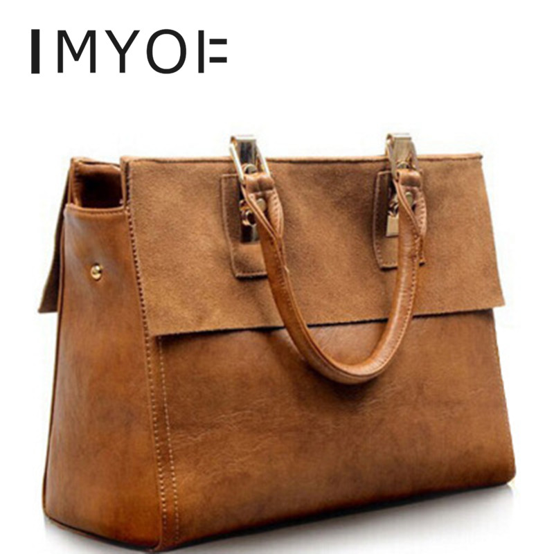IMYOK 2020 New Bags Women European And American Retro Shoudler Bag Genuine Leather Luxury Handbags Vintage Totes For Female