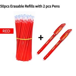 Image 4 - 2 + 50ピース/セット0.5ミリメートルブルーブラックインク消去可能なリフィルロッド消去可能なペン洗えるハンドルスクール書き込み文房具ゲルインクペン
