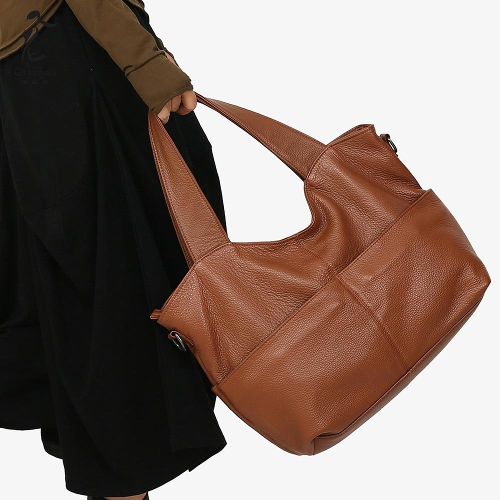Women's 2018 New Women's Handbag Personality Shoulder Bag Large Capacity Fashion Cowhide Women's Bag