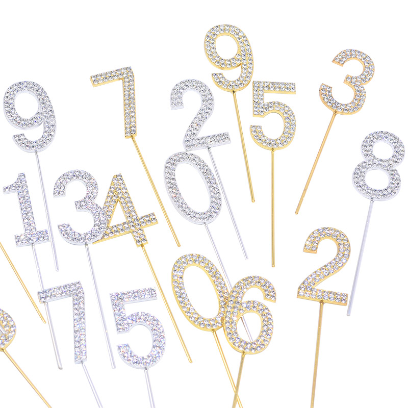 Image 3 - 1Pc Gold Silver Diamond studded Number 0 9 Rhinestone Collection Cake Topper for Birthday Party Dessert Cake Decoration Gifts-in Cake Decorating Supplies from Home & Garden