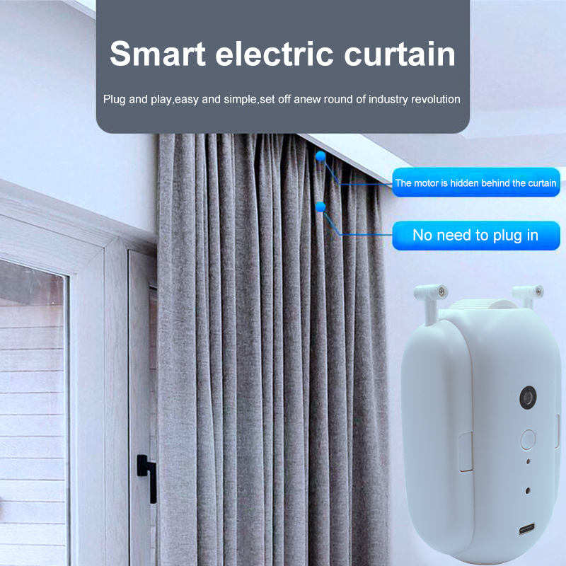HIMOJO Tuya Smart Curtains  Wireless Automatic Curtain Opener Rechargeable Switch bot Curtains Remote Control Alexa Google Home 4