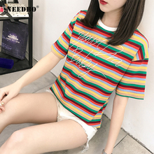 NEEDBO Oversize T Shirt Woment Rainbow Striped Casual t-shirt Women O-neck Short Sleeve Ladies Punk Camiseta tshirt Top