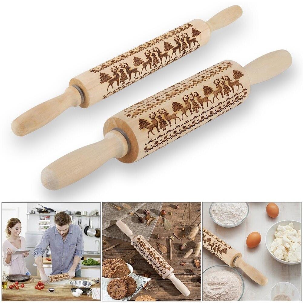 35/43*5cm noel oklava ahşap pişirme çerezleri erişte bisküvi fondan kek hamur kazınmış rulo ren geyiği kar tanesi pişirme