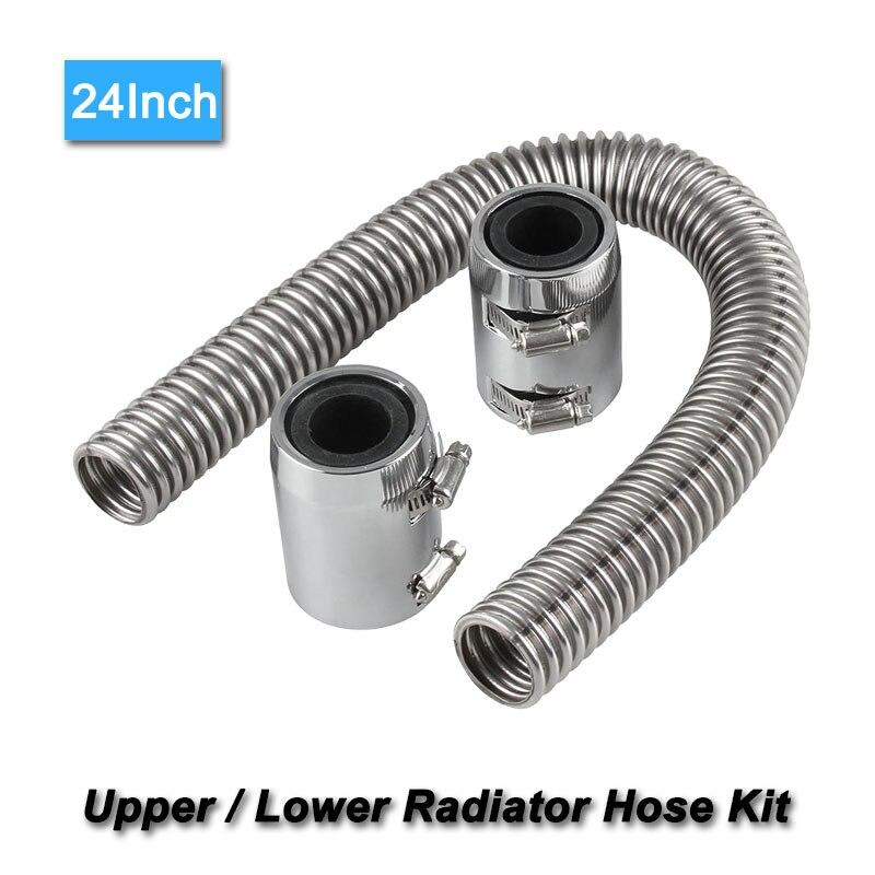 24 Flexible Stainless Steel Upper or Lower Radiator Hose Kit /& Black Caps V8