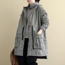 Johnature mujeres con capucha Retro Trench 2019 invierno nueva manga larga bolsillos abrigos Color sólido mujeres ropa gruesa caliente Casual Trench