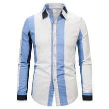 цена на Fashion Striped Printed Mens Shirts Designer Single Breasted Casual Shirts Plus Size Mens Long Sleeve Tops