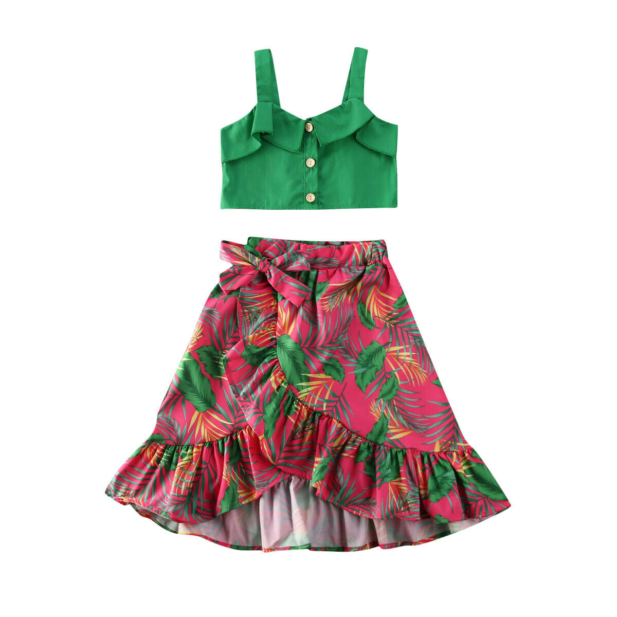 Fashion Kids Baby Girls Summer Clothes Vest Ruffle Top Bowknot Skirt Shorts Floral Outfits Sunsuit
