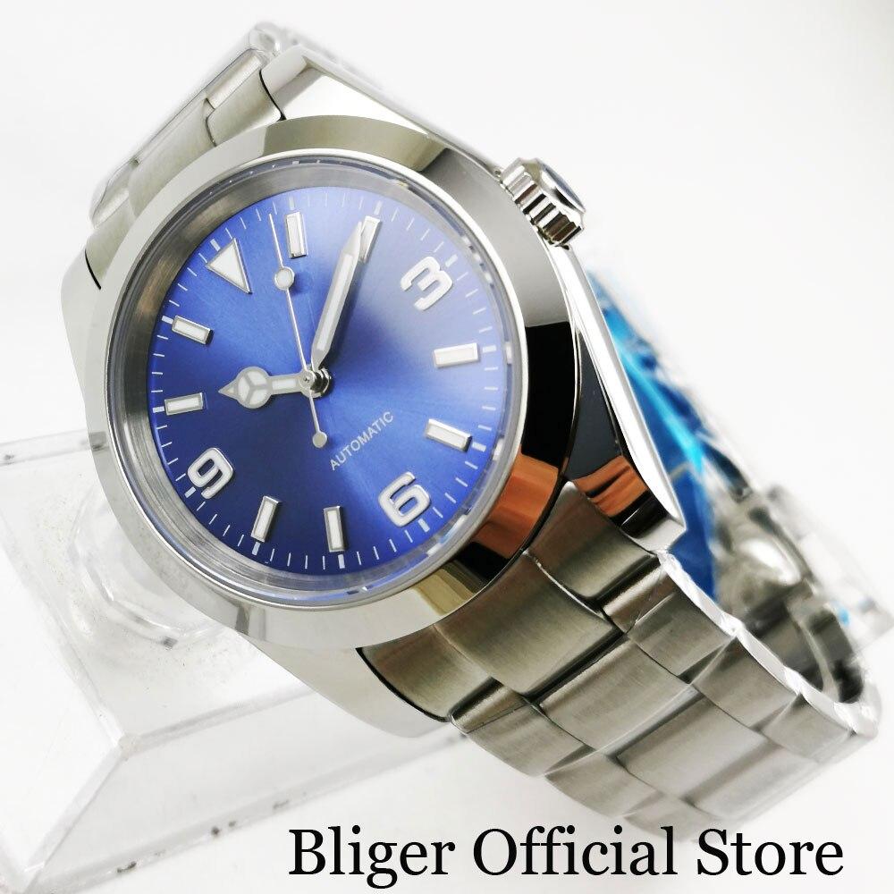 Luxury BLIGER Self Winding Men Wristwatch Polished Case Blue Nologo Dial 39mm MIYOTA Movement Deployment Clasp Mental Strap
