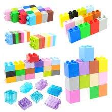 Blocos de construção grandes em massa 4 pontos quadrados 2 furos tijolos de mosaico montar acessórios tijolos compatíveis baseplates brinquedos para crianças