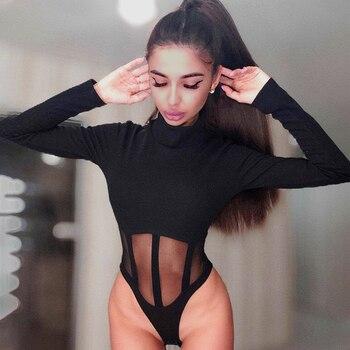 Bodysuit With Mesh Midriff 1
