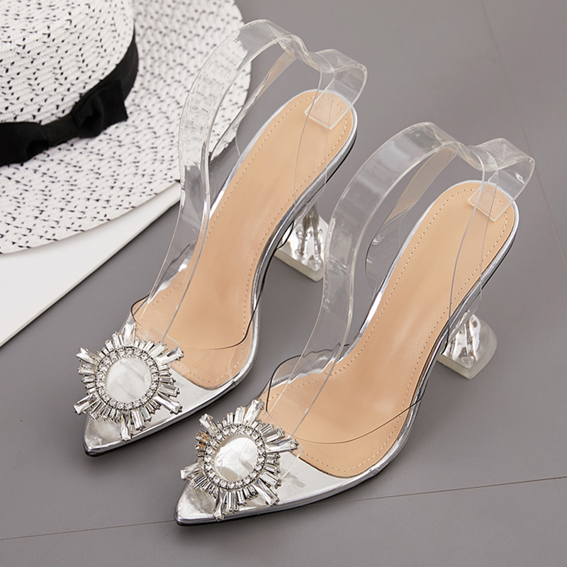Spring Rhinestone Women Pumps Transparent High Heels Women Shoes Pvc Jelly Shoes Women Sandals Sexy Women Heels Plus Size 42