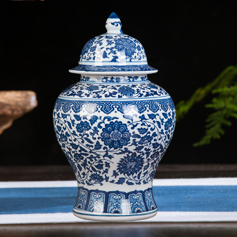 Jingdezhen Ceramic Jar Antique Ornament, Blue And White TV Cabinet General Tankstorage Tank Handicraft Decorative Vase