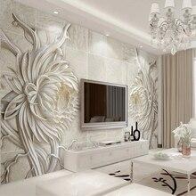 Пользовательская 3D Роспись Европейский стиль резьба по камню Подсолнух спальня ТВ фон тисненые самоклеящиеся обои водонепроницаемые