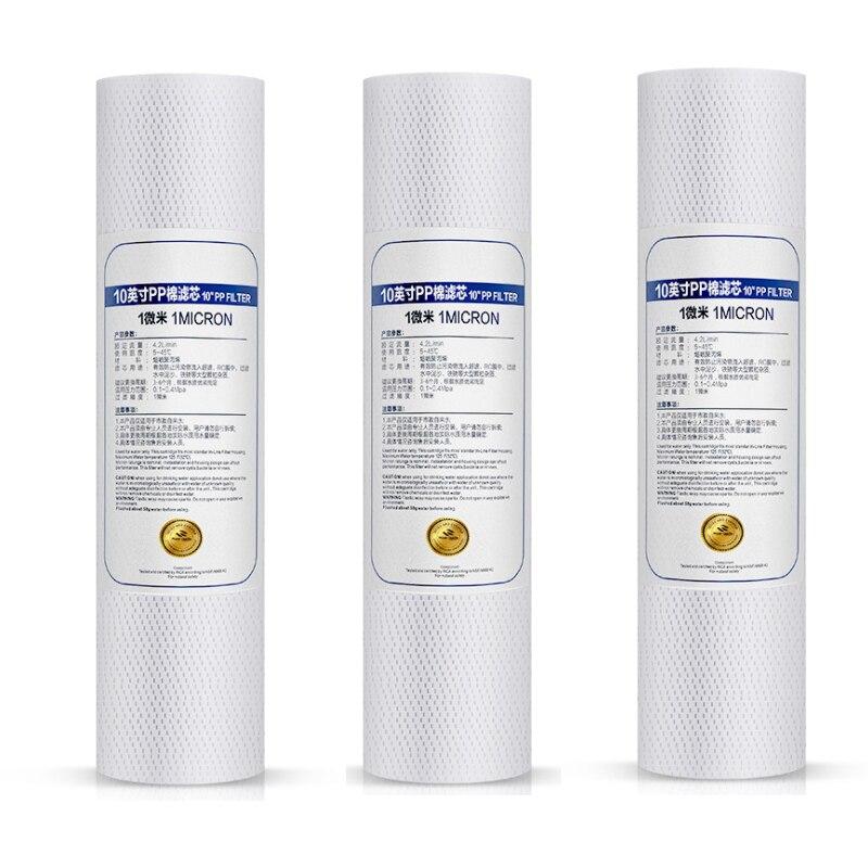 3pcs 10 Inch Water Purifier Core  1 Micron 5 Micron Sediment Water Filter Cartridge PP Cotton Filter (Food Grade Polypropylene)