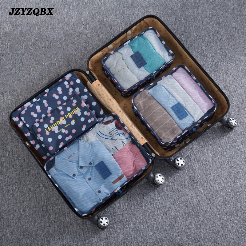 6 Pcs/ Set New Travel Storage Bag Fashion Simple Ladies Makeup Bag Placement Clothes Bag Neatly Packed Luggage Portable Storage