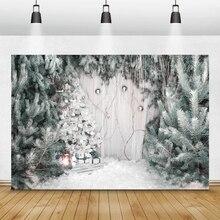 Laeacco Kerst Achtergronden Grenen Bomen Sneeuw Winter Fotografie Achtergronden Familie Baby Portret Photocall Voor Fotostudio Props