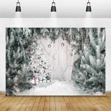 Laeacco Рождественские фоны сосновые Деревья Снег Зима фотография