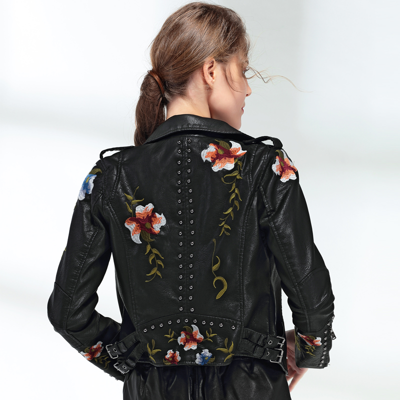 Ftlzz Women Floral Print Embroidery Faux Soft Leather Jacket Coat  Turn-down Collar Casual Pu Motorcycle Black Punk Outerwear