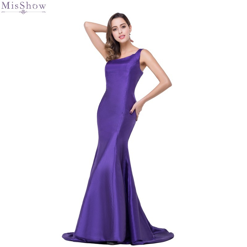 >Purple Mermaid Long Evening Dress 2019 Elegant One Shoulder Formal Evening Gown <font><b>Sweep</b></font> <font><b>Train</b></font> <font><b>Sleeveless</b></font> Party Dress