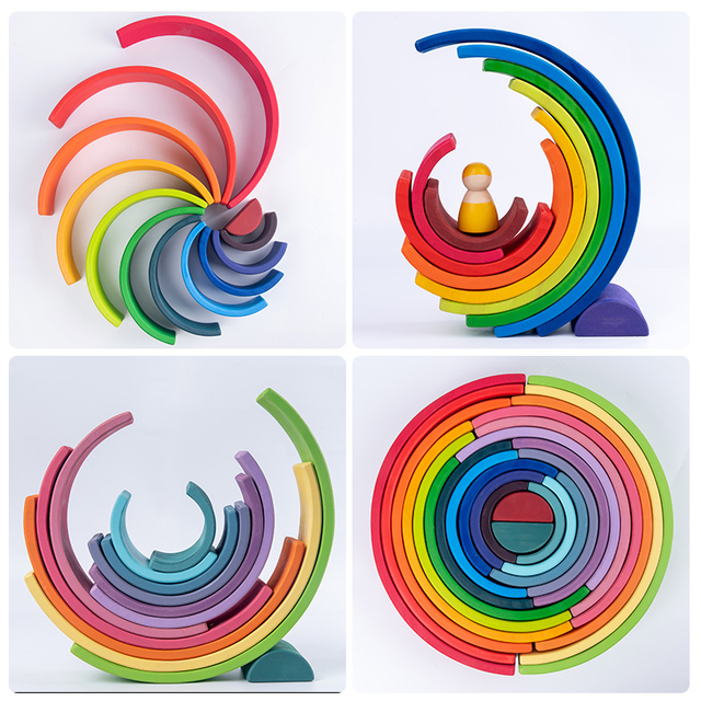Baby Toys Large size Rainbow Building Blocks Wooden Toys For Kids Creative Rainbow Stacker Montessori Educational Toy Children 2