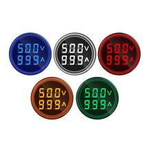 цена на Mini Digital Voltmeter Ammeter 22mm Square AC 50-500V 0-100A Amp Volt Voltage Tester Meter Dual LED Indicator Pilot Lamp Light
