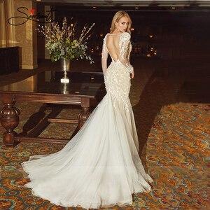 Image 3 - BAZIIINGAAA חתונה שמלת שרוולים עגול צוואר להסרה זנב חתונה שמלת בת ים תחרת Applique הכלה תמיכה תפור
