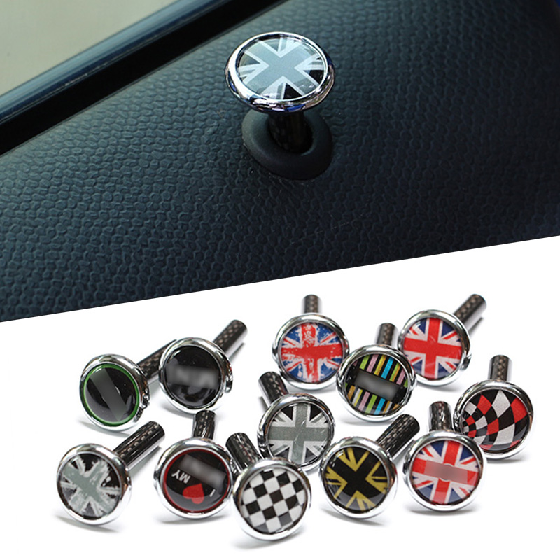 2pcs Carbon Fiber Door Lock Pin Cover Sticker For Mini Cooper S One JCW Clubman Countryman R55 R56 R57 R58 R59 R60 R61 F56 Etc