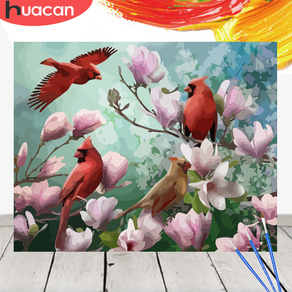 HUACAN Painting By Numbers Bird Animals Kit Acrylic Paint On Canvas Wall Art Picture HandPainted Home Decor DIY Gift