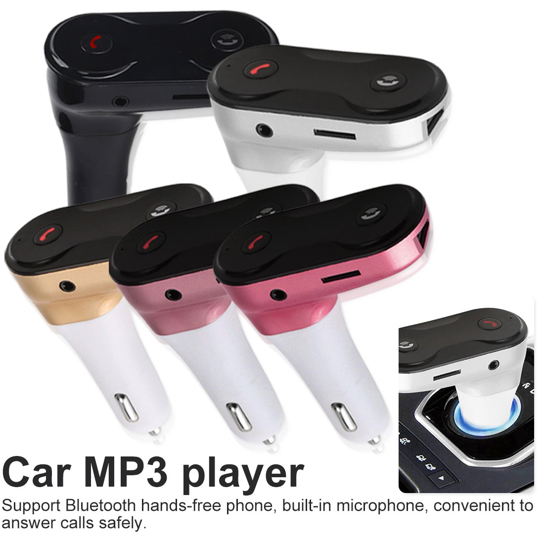 HandsFree Wireless Bluetooth FM Transmitter Bluetooth <font><b>Car</b></font> Kit C8 AUX Hands Free Music Mini MP3 Player image