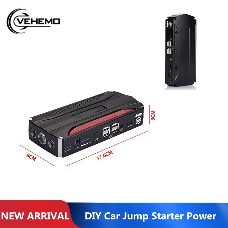 Vehemo With LED Light 4USB Multi-Function DIY Car Jump Starter Kit Automobile Car Power Kit Power Bank Jump Starter Kit Premium