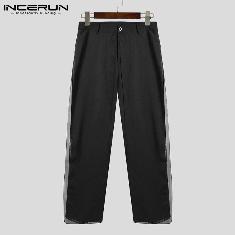 INCERUN Fashion Men Pants Patchwork Solid Personality Joggers Loose Wide Leg Trousers Men 2021 Streetwear Casual Pants No Belt