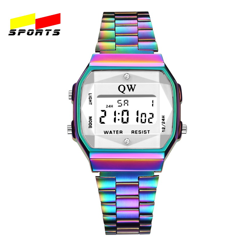 QW Sports 3ATM Vintage Womens Men Stainless Steel Digital Alarm Stopwatch Wrist Watch