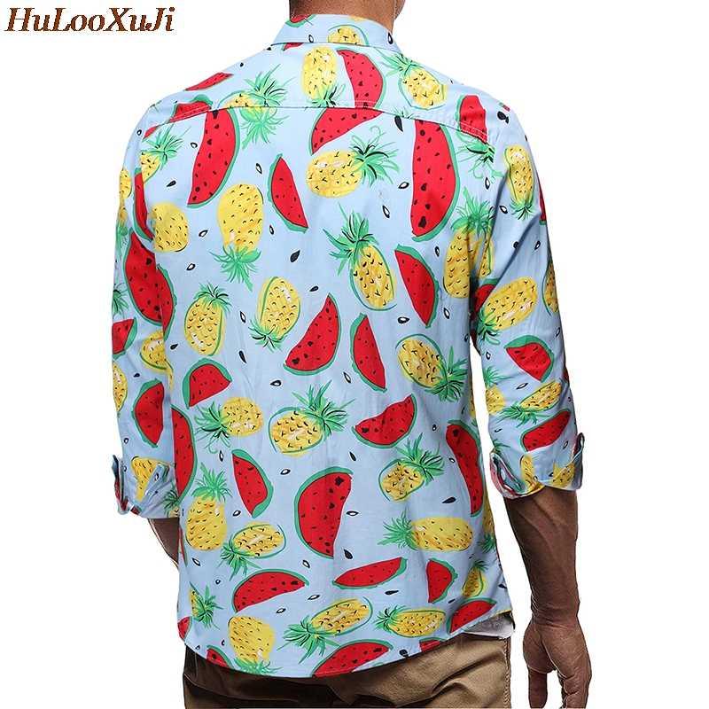 HuLooXuJi мужские весенние пляжные рубашки фруктовая принтованная повседневная одежда рубашка мужская с длинным рукавом Новая модная рубашка США Размер: S-2XL