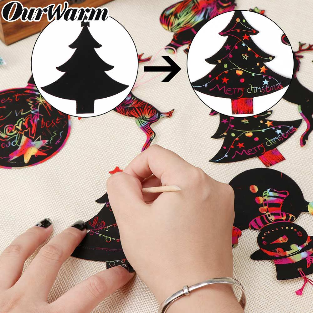 OurWarm 24pcs Magic Color Scratch Card Christmas Tree Ornaments Scratch Art Paper Coloring Cards Scraping Chirldren Drawing Toy