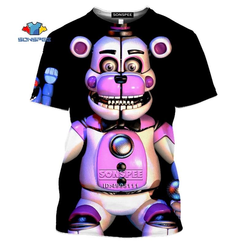 Мужская футболка с 3D принтом SONSPEE Five Nights At Freddy's, летняя повседневная футболка FNAF Foxy Bonnie