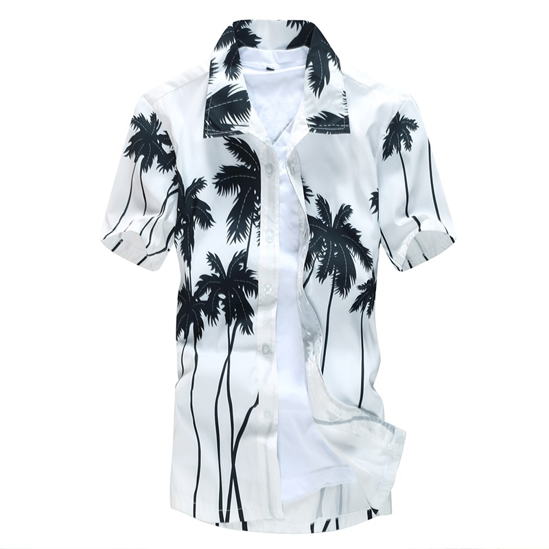 Tops Wear Shirts Men Summer Tree Print Men Shirt Turn-down Collar Short Sleeve Casual Beach Hawaiian Shirt Men Streetwear Camisa