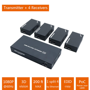 Image 2 - Super Quality 200ft 1x4 HDMI Splitter Extender 60m Over UTP RJ45 Cat5e Cat6 Cable Support HD 1080P 1 Transmitter To 4 Receivers