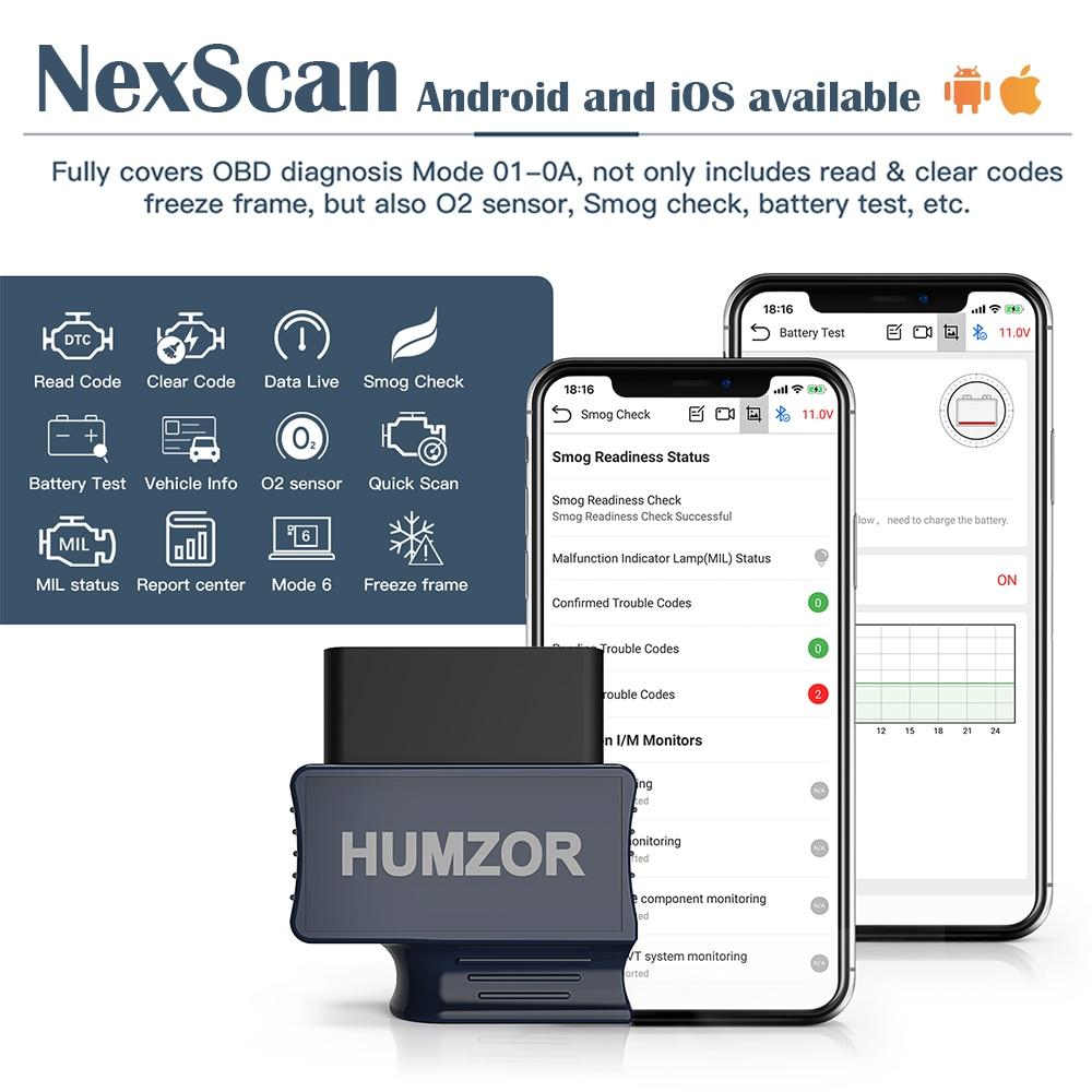 Ferramenta diagnóstica bluetooth 4.2 do leitor de código do carro do varredor de humzor nexzscan obd2 para iphone, ipad & android pk bluedriver obdlink