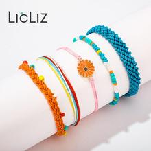 LicLiz 2019 New Fashion Boho Rope Wrap Bracelet Set for Women 5 Colors 1 Handmade Weave Braided Pulseras LPB0497C