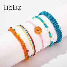 купить LicLiz 2019 New Fashion Boho Rope Wrap Bracelet Set for Women 5 Colors 1 Set Handmade Weave Braided Bracelet Pulseras LPB0497C онлайн