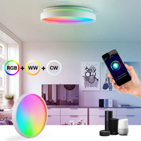 Luz LED de techo inteligente para interiores, redonda con iluminación moderna WiFi, Bluetooth, RGB, 24W, 36W, 220V, Control por voz para habitación