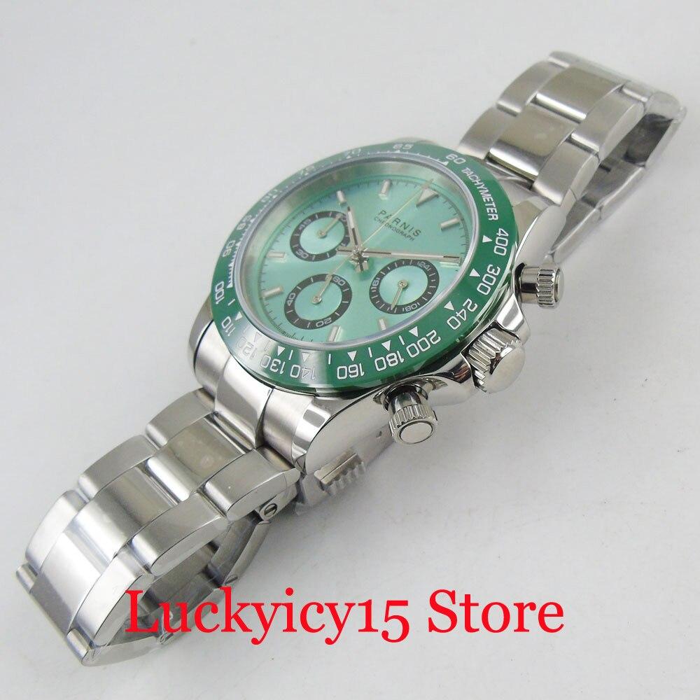 Relógio de Pulso de Quartzo Parnis Sapphire Vidro Masculino Função Cronógrafo Cinta Mental 316l ss