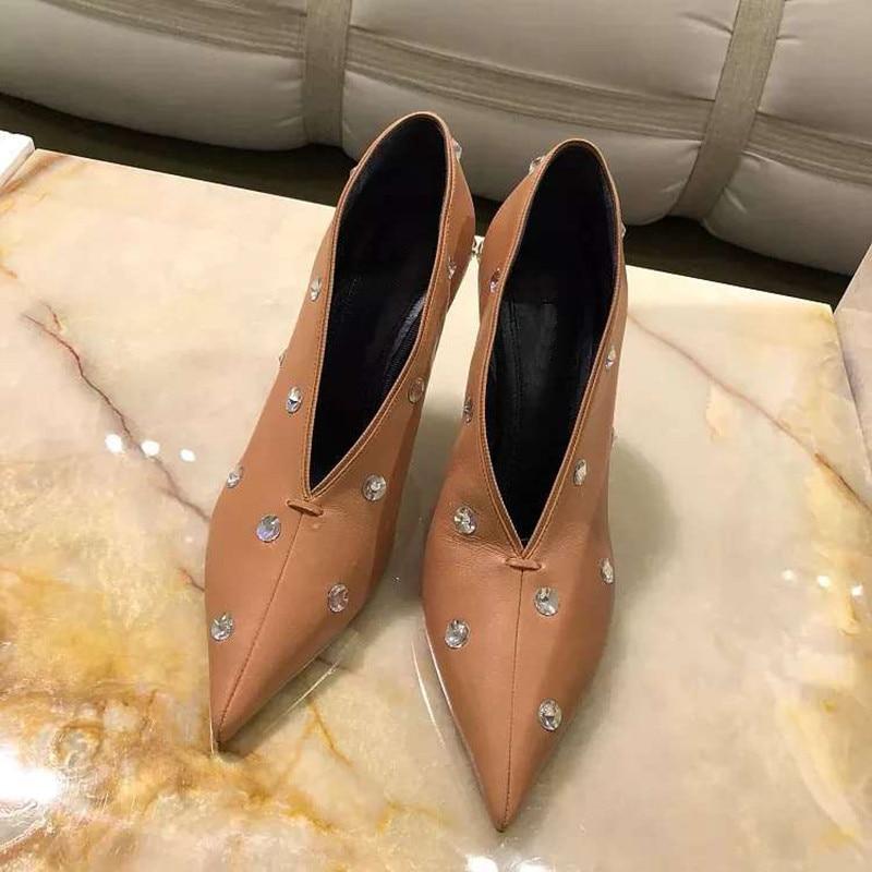 ¡Novedad de primavera 2020! Zapatos sexis informales con escote en pico para mujer, zapatos de tacón con punta en pico de mujer para fiesta, zapatos de tacón alto Nuevas botas a la moda para mujer, tacón de aguja, puntiagudas, botas de tacón alto largo de piel sin cordones, zapatos formales con tacón